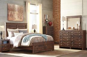 Hammerstead Queen Bedroom Set with Storage Bed, Dresser, Mirror and Nightstand in Brown