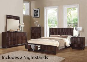 20520Q6PCSET Travell Queen Size Bed + Dresser + Mirror + Chest + 2 Nightstands in Walnut Finish