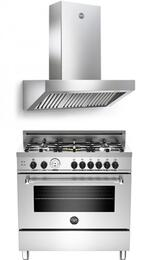 "Stainless Steel 2-Piece Kitchen Package With MAS365GASXT 36""  Gas Freestanding Range and K36HD2X 36"" Wall Mount Range Hood"