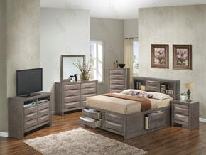 G1505GQSB3NTV2 3 Piece Set including  Queen Size Bed, Nightstand and Media Chest  in Gray
