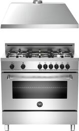 "2-Piece Stainless Steel Kitchen Package with MAS365DFMXELP 36"" Freestanding Liquid Propane Dual-Fuel Range and KU36PRO1XV 36"" 400 CFM Range Hood"