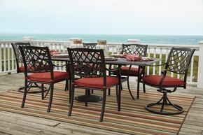 Tanglevale Collection P5576357S 7-Piece Outdoor Patio Set with Dining Table + 4 Side Chairs + 2 Swivel Chairs in Brown Color