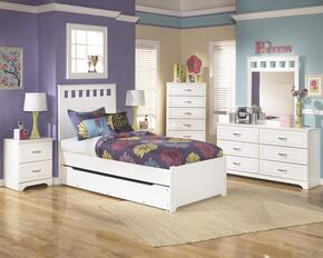 Lulu Twin Bedroom Set with Panel Bed with Trundle, Dresser, Mirror, 2 Nightstands and Chest in White