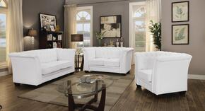 G327SET 3 PC Living Room Set with Sofa + Loveseat + Armchair in White Color