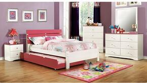 Kimmel Collection CM7626PKTBDMCN 5-Piece Bedroom Set with Twin Bed, Dresser, Mirror, Chest, and Nightstand in  White and Pink Finish