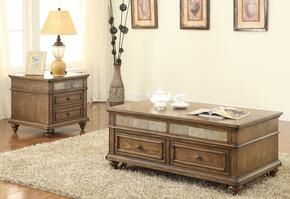 Eli 81600CE 2 PC Living Room Table Set with Coffee Table + End Table in Oak Finish