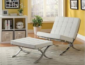 Elian 96374CO 2 PC Living Room Set with Accent Chair + Ottoman in Ivory PU and Chrome Finish