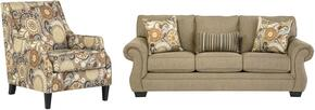 Tailya Collection 47700SAC 2-Piece Living Room Set with Sofa and Accent Chair in Barley and Espresso