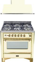 "2-Piece Antique White Kitchen Package with UM906DMPA 36"" Freestanding Dual Fuel Range (Brass Trim, 6 Burners, Timer) and UAM90A 36"" Wall Mount Range Hood"