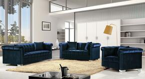 Kayla Collection 739454 3-Piece Living Room Sets with Stationary Sofa, Loveseat and Living Room Chair in Navy