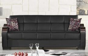 Uptown Collection UCSBLSACBKL Package Including Sofa Bed, Love Seat and Convertible Armchair with Matching Pillows, Storage Under the Seat, Curved Wood-like Arms, Polished Metal Accents and Tufted Detailing Upholstered in Black Pu-Leatherette