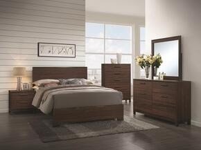 Edmonton Collection 204351KW4PC 4 PC Bedroom Set with California King Bed + Nightstand + Dresser + Mirror in Rustic Tobacco and Finish