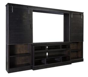 Sharlowe Collection W635-30-34-36 Entertainment Center with TV Stand, 2 Piers and Bridge with Sliding Doors in a Distressed Worn Dark Charcoal Color