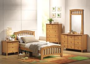 08967FDMCN San Marino Full Size Bed + Dresser + Mirror + Chest + Nightstand in Maple Finish