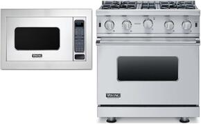 "3-Piece Stainless Steel Kitchen Package with VGIC53014BSS 30"" Freestanding Gas Range, and VMOC206SS 24"" Countertop Microwave with VMTK302SS 30"" Trim Kit"