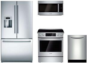 """4 Piece Stainless Steel Kitchen Package With B26FT80SNS 36"""" French Door Refrigerator, HEI8054U 30"""" Slide In Electric Range, 30"""" HMV5053U Drawer Microwave and SHP53TL5UC 24"""" Dishwasher"""