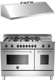 "Bertazzoni Stainless Steel 2-Piece Kitchen Package With 48"" MAS486GDFSXTLP 48"" Master Series Dual Fuel Freestanding Range and Free KU48PRO1X 48"" Proessional Wall-Mount Hood"