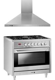 """2 Piece Stainless Steel Kitchen Package with RFA-365 DF 36"""" Dual Fuel Range and 60CFP-36X 36"""" Wall Mount Range Hood"""
