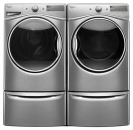 "Diamond Steel Front Load Laundry Pair with WFW92HEFU 27"" Washer, WGD92HEFU 27"" Gas Dryer and 2 XHPC155YU Laundry Pedestals"