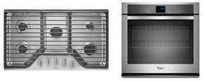"2-Piece Kitchen Package with WCG51US6DS 36"" Gas Cooktop and WOS51EC7AS 30"" Electric Single Wall Oven in Stainless Steel"