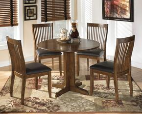 Silvana Collection 5-Piece Dining Room Set with Round Dining Table and 4 Side Chairs in Medium Brown