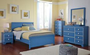 Bronilly Full Bedroom Set with Panel Bed, Dresser, Mirror, Two Night Stands and Chest in Blue