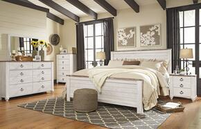 Willowton King Bedroom Set with Panel Bed, Dresser, Mirror, Single Nightstand and Chest in Whitewashed Color