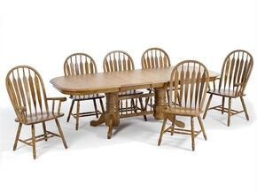Classic Oak CO-TA-L4296247-CNT-C Dining Room  Laminate Trestle Table and 6 Chairs with Apron  in Chestnut Finish