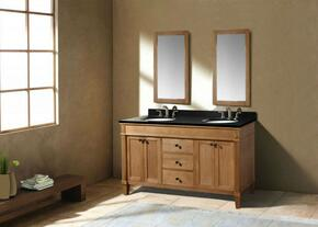WLF6068-60KIT 60 Double Sink Cabinet-Matching Granite From Wlf5020, Wlf5048, Wlf6018 in Weathered Oak with Backsplash