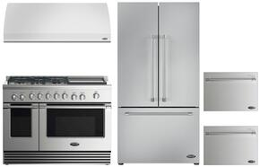 "4 Piece Kitchen Package With RDV2485GDL 48"" Dual Fuel Freestanding Range, VS48 48"" Wall Mount Hood, RF201ACJSX1 36"" French Door Refrigerator and two DD24SV2T7 24"" Dishwasher Drawers in Stainless Steel"