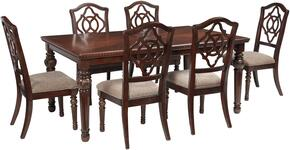 Leahlyn Collection 7-Piece Dining Room Set with Dining Room Table and 6 Side Chairs in Reddish Brown