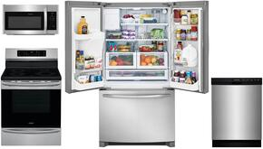 "4-Piece Kitchen Stainless Steel Package With FFHB2750TS 30"" French Door Refrigerator, FFIF3054TS 30"" Electric Freestanding Range, FFMV1645TS 30"" Over-the-Range Microwave, and FFBD2412SS 24"" Built In Dishwasher"
