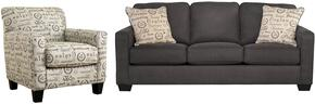 Alenya Collection 16601SC 2-Piece Living Room Set with Sofa and Accent Chair in Charcoal