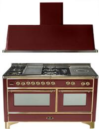 "2-Piece Burgundy Kitchen Package with UM150FSDMPRB 60"" Freestanding Dual Fuel Range (Brass Trim, 5 Burners, French Cooktop) and UAM150RB 60"" Wall Mount Range Hood"