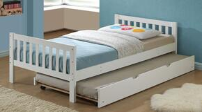 Cutie 37075TT 2 PC Bedroom Set with Twin Size Panel Bed + Trundle in White Finish