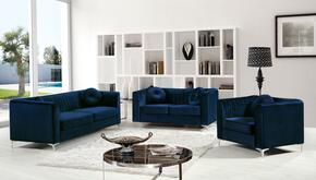 Isabelle Collection 3-Piece Living Room Sets with Stationary Sofa, Loveseat and Living Room Chair in Navy