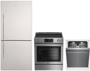 "3-Piece Kitchen Package with BRFB1812SSN 30"" Bottom Freezer Refrigerator, BERU30420SS 30"" Freestanding Electric Range, and a free DWT59500SS 24"" Built In Fully Integrated Dishwasher in Stainless Steel"