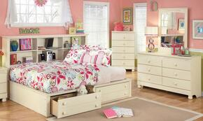 Cottage Retreat Full Bedroom Set with Bedside Storage Bed, Dresser, Mirror and Chest in Cream