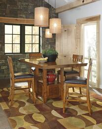 Ariel Collection 5-Piece Dining Room Set with Dining Room Counter Table and 4 Barstools in Dark Brown