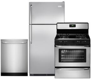 """3-Piece Stainless Steel Kitchen Package with FFTR18G2QS 30"""" Top Freezer Refrigerator, FFGF3047LS 30"""" Freestanding Gas Range and FFID2423RS 24"""" Fully Integrated Dishwasher"""