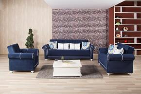 Royal Home ROHOSBLSACRDB Package Containing Sofa Bed, Loveseat and Armchair with Pillows, Nail Head Accents, Turned Feet, Sliders and Rolled Arms in Riva Dark Blue