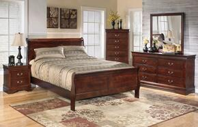 Alisdair King Bedroom Set with Sleigh Bed, Dresser, Mirror and Nightstand in Dark Brown