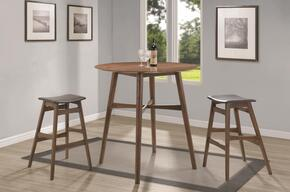 Bar Units and Bar Tables 101435SET 3 PC Bar Table Set with Bar Table + 2 Bar Stools in Walnut Finish