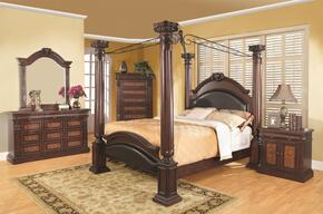 Grand Prado 202201KEDMCN 5 PC Bedroom Set with Eastern King Size Bed + Dresser + Mirror + Chest + Nightstand in Cappuccino Finish