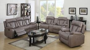 Isidro 51420SLR 3 PC Living Room Set with Sofa + Loveseat + Recliner in Grey Color