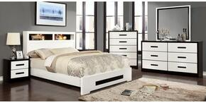 Rutger Collection CM7297KBDMCN 5-Piece Bedroom Set with King Bed, Dresser, Mirror, Chest and Nightstand in White Finish