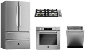 "5-Piece Stainless Steel Kitchen Package with REF36X 36"" French Door Refrigerator, QB30M400X 30"" Gas Sealed Cooktop, MASFS30XV 30"" Single Wall Oven, KOTR30X 30"" Over the Range Microwave and DW24XV Built In Dishwasher"