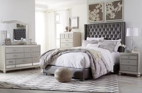 Coralayne Collection King Bedroom Set with Panel Bed, Dresser, Mirror, 2x Nightstands and Chest in Gray