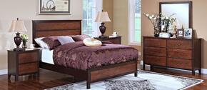 00145QBDMNN Bishop 5 Piece Bedroom Set with Queen Bed, Dresser, Mirror and Two Nightstands, in Chestnut/Ginger