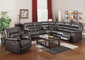 Neon Collection 50840SLRW 4 PC Living Room Set with Sofa + Loveseat + Recliner + Wedge in Dark Brown Color